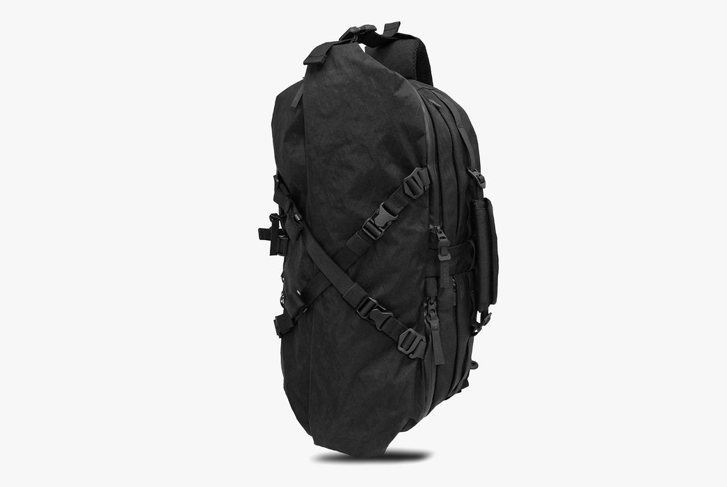 Black Sling Pack - Standing Up - Front View