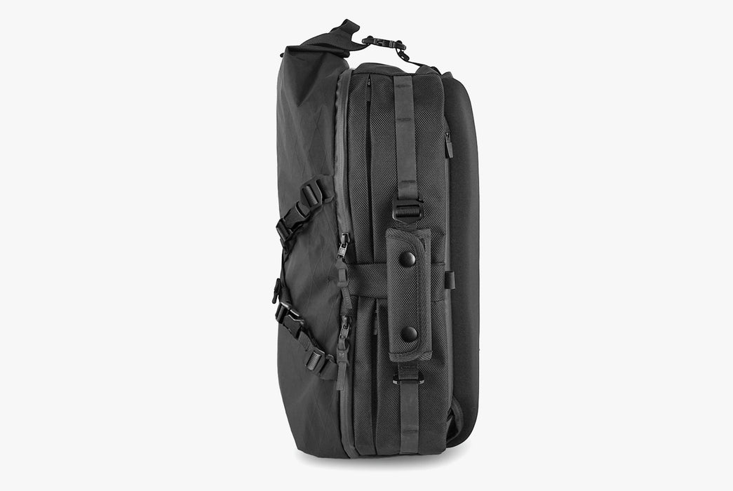 Black Sling Pack - Standing Up - Side View