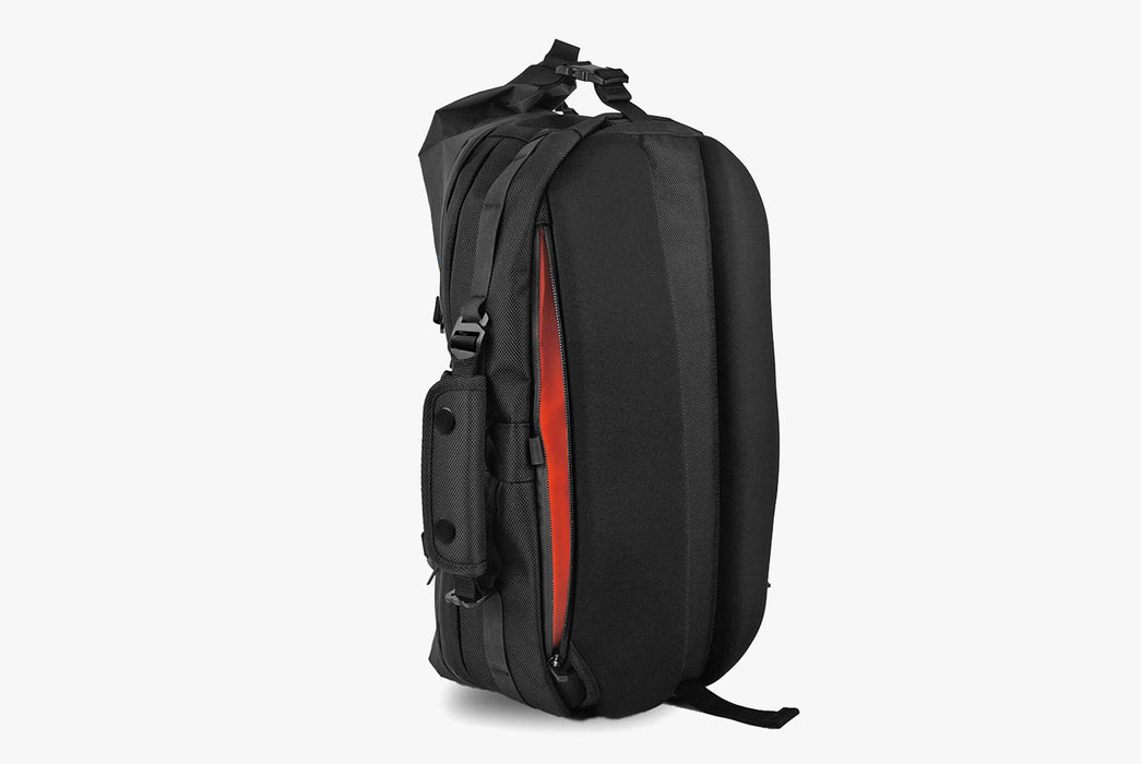 Black Sling Pack - Standing Up - Rear View - Unzipped