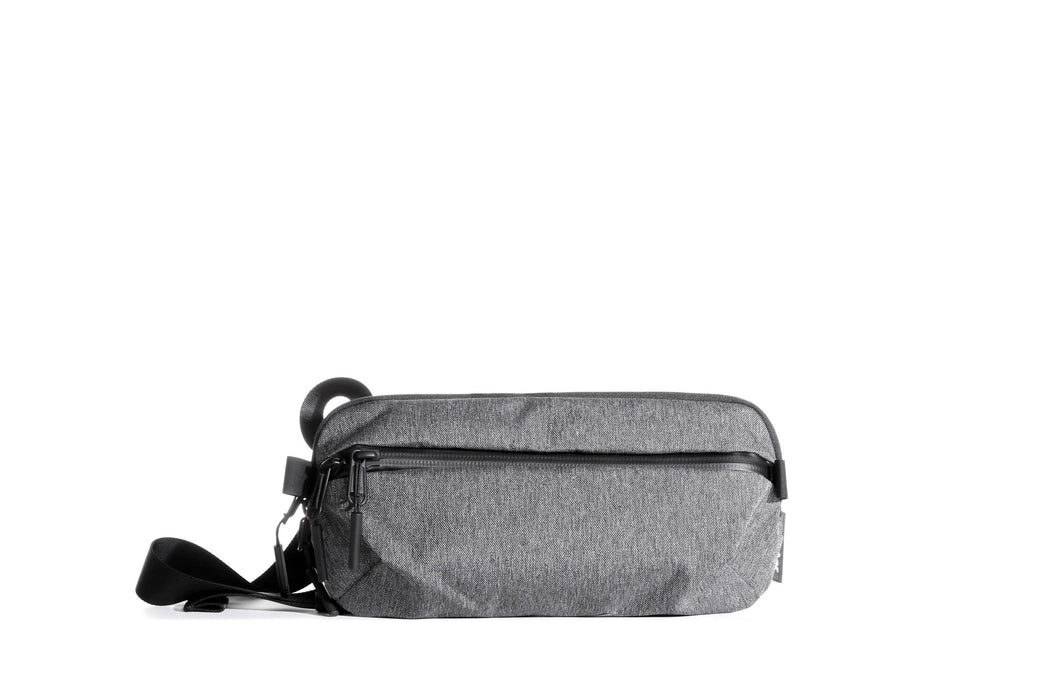 Gray Sling Bag Standing Up - Front View