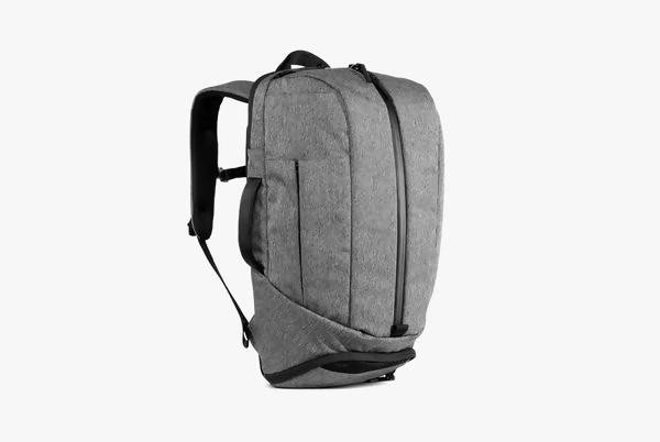 Gray Duffel Pack Standing Up - Front View