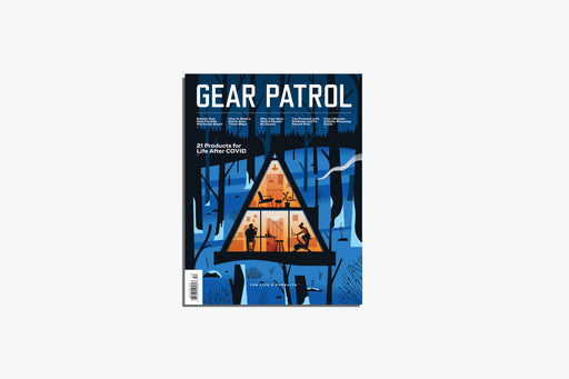 Gear Patrol Magazine, Issue Fourteen - cover shows illustration of an a-frame cabin in snowy woods