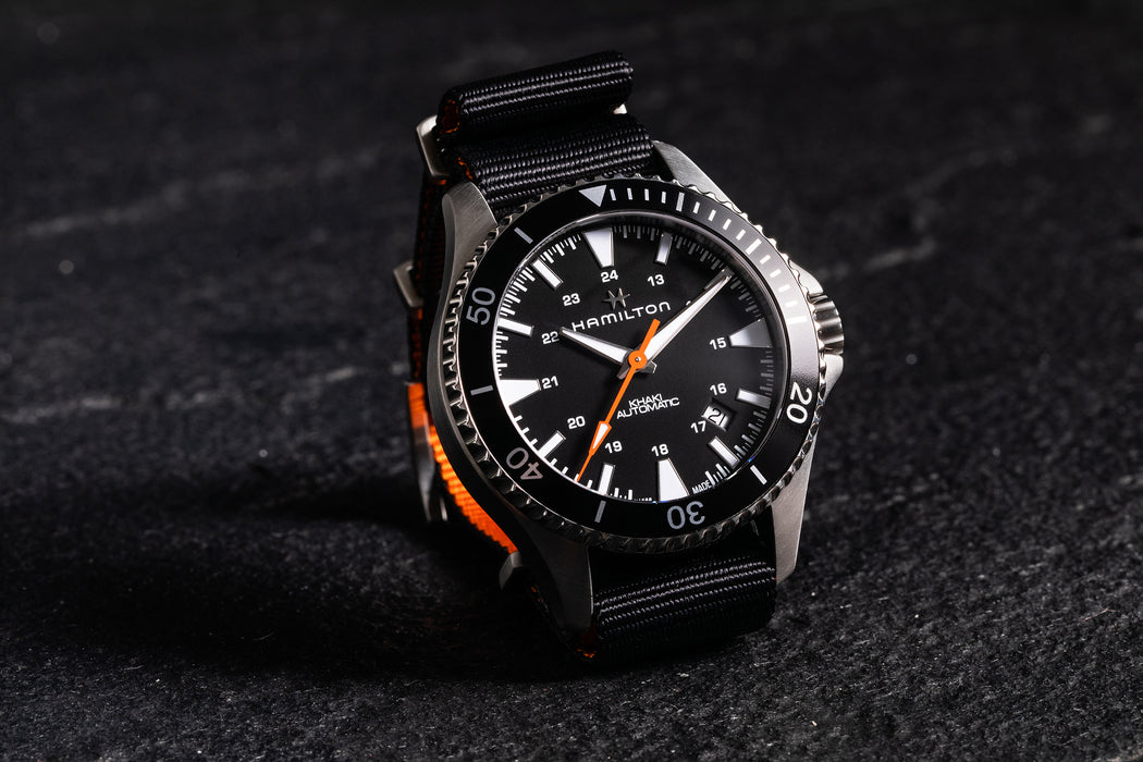 Hamilton Khaki Navy Scuba Auto - Special Edition - image of watch propped up showing minute and second hands