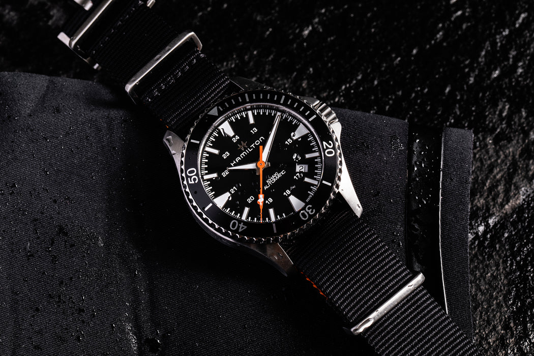 Hamilton Khaki Navy Scuba Auto - Special Edition - image of watch laying flat on a wet surface