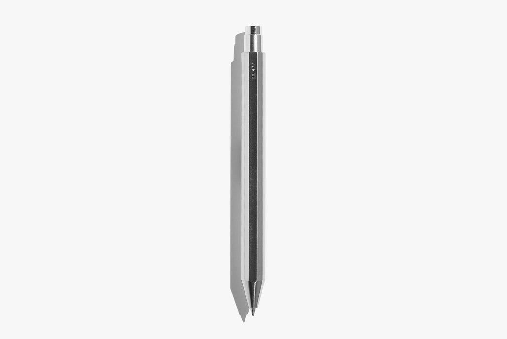 Inventery Mechanical Pen -Chrome - pen facing downward with tip extended, showing back of pen