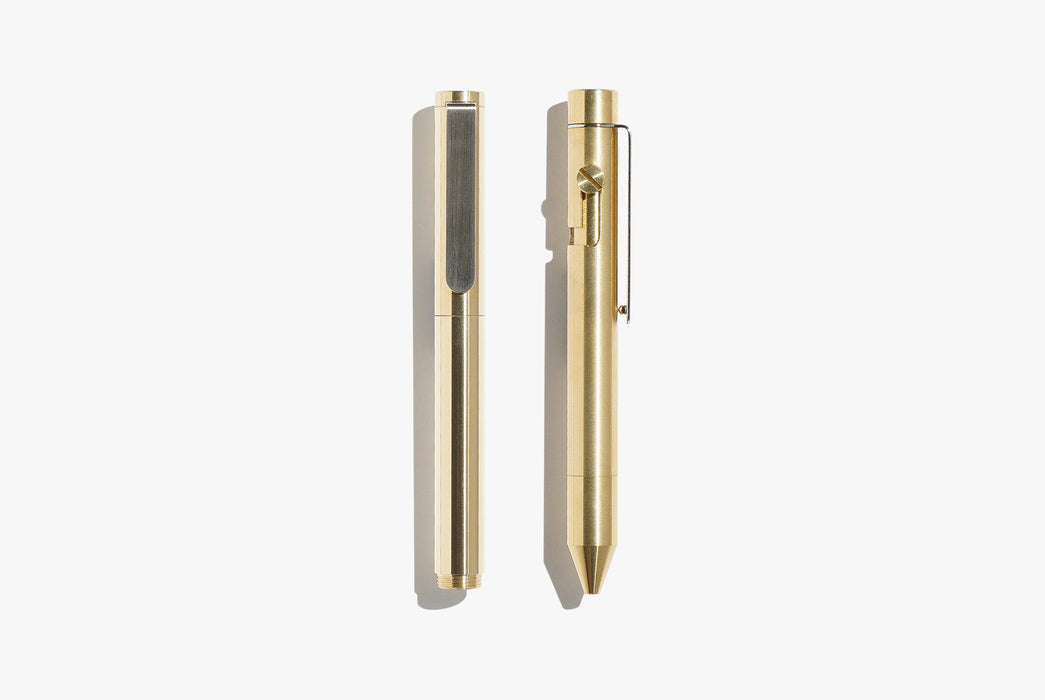 Inventery Pocket Pen Bundle - top-down image of two brass-toned pens, side-by-side