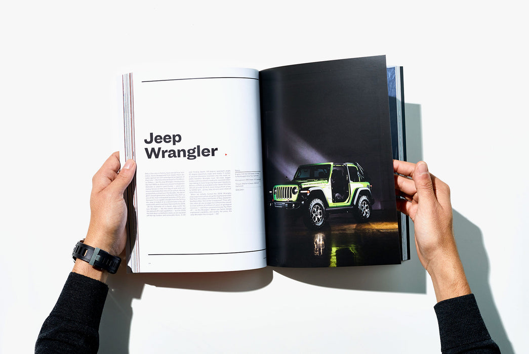 Gear Patrol Magazine, Issue Eight - Open to Spread showing a green Jeep Wrangler with a black background