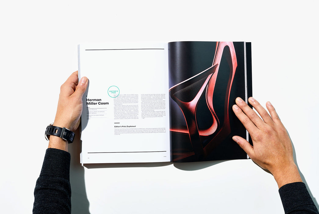 Gear Patrol Magazine, Issue Eight - Open to Spread showing a red Herman Miller Cosm chair