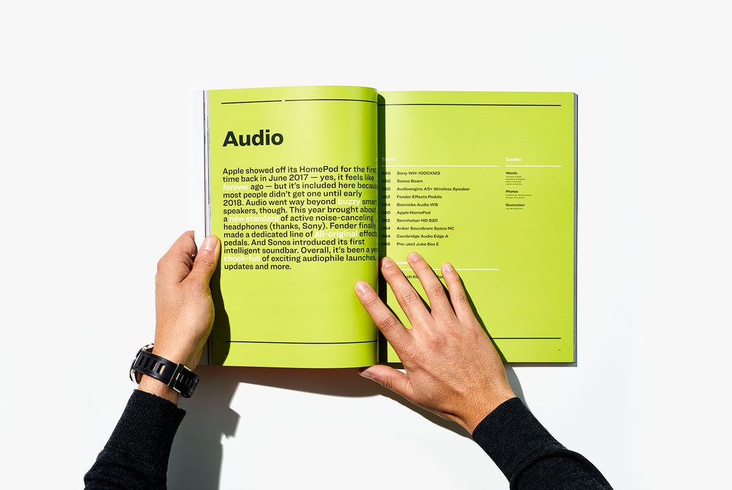 Gear Patrol Magazine, Issue Eight - Open to Spread showing the beginning of the Audio section with graphics on a green background