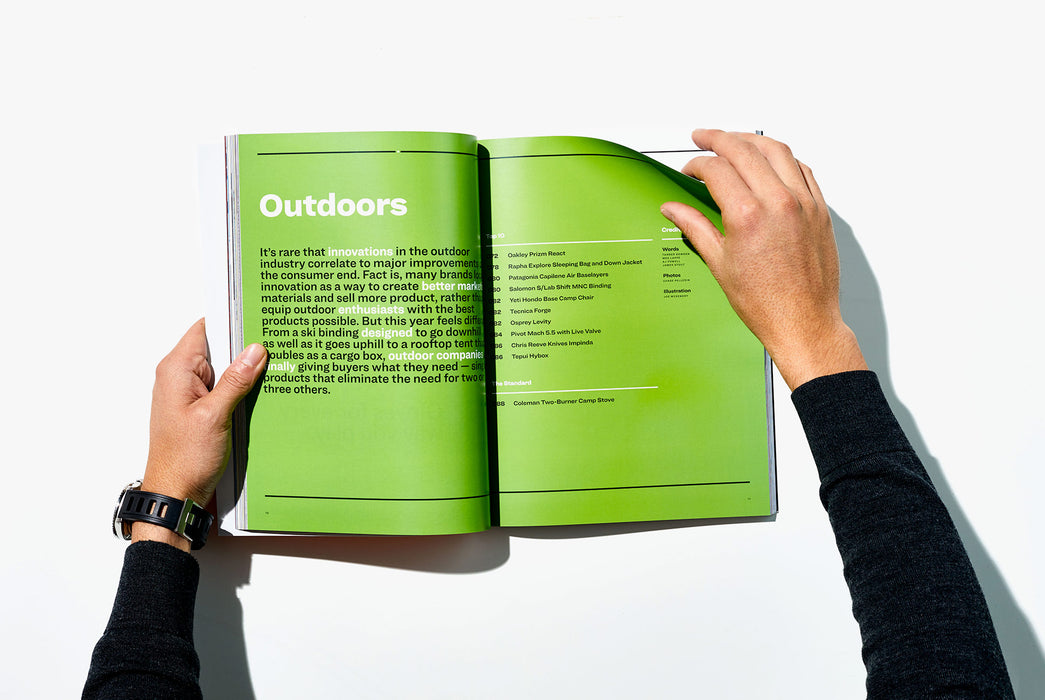 Gear Patrol Magazine, Issue Eight - Open to Spread showing Outdoors section with graphics on green background