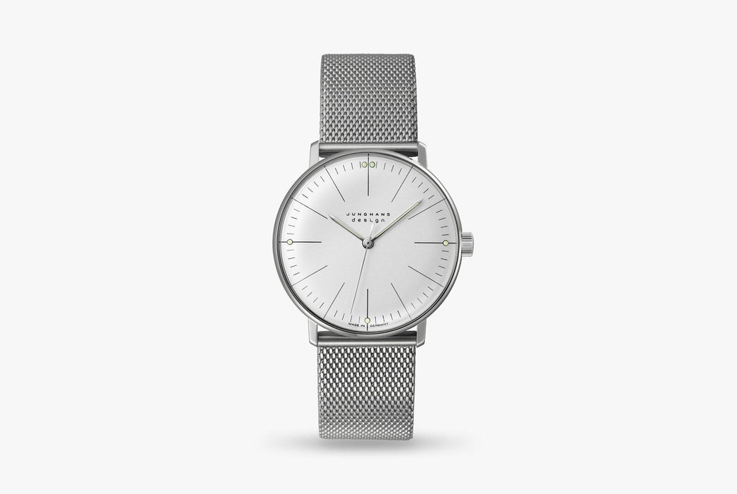 Junghans Max Bill Handwound Watch - watch standing up, showing version with white dial and silver mesh strap