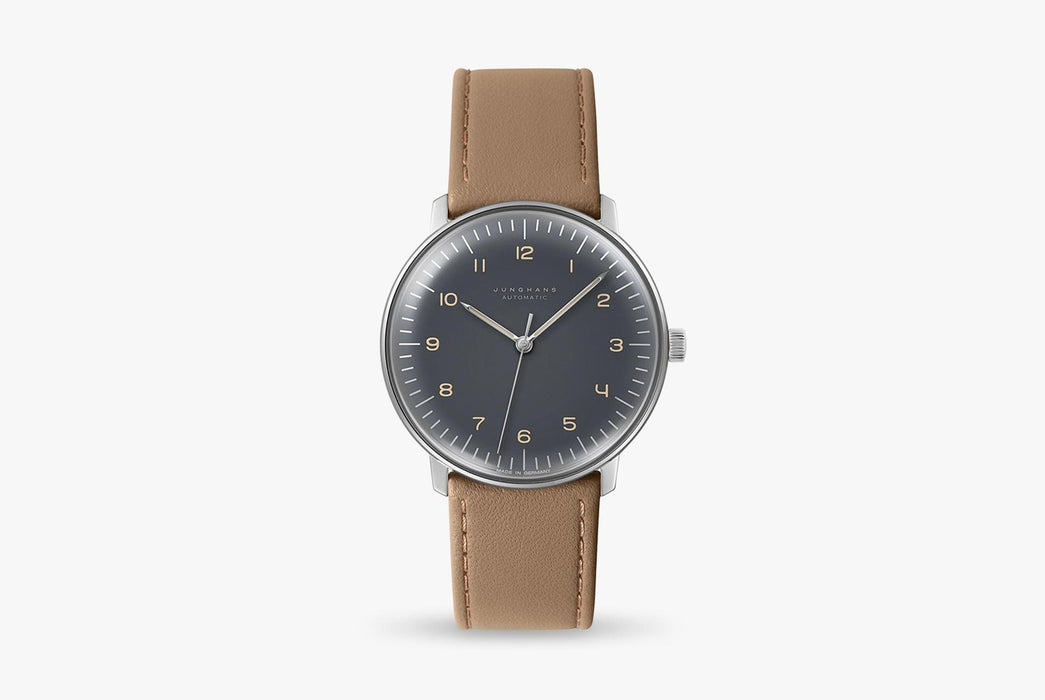 Junghans Max Bill Automatic Watch - watch standing up, showing option with gray dial and brown leather strap