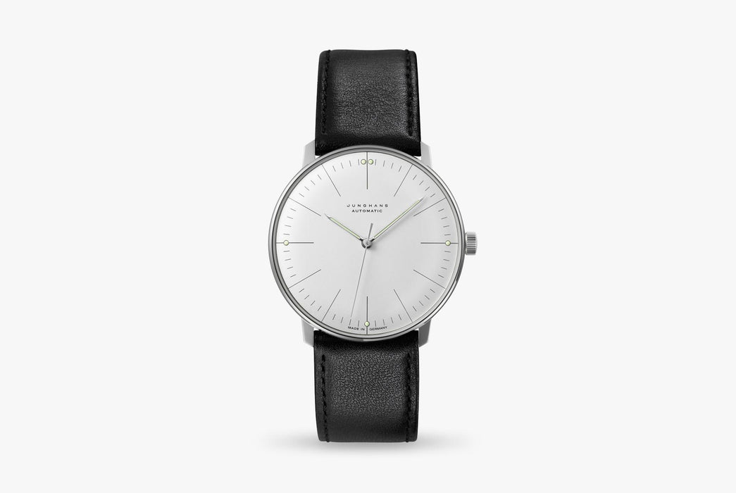 Junghans Max Bill Automatic Watch - watch standing up, showing option with white dial and black leather strap