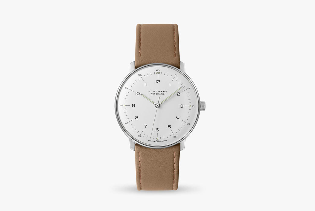 Junghans Max Bill Automatic Watch - watch standing up, showing option with white dial and brown leather strap