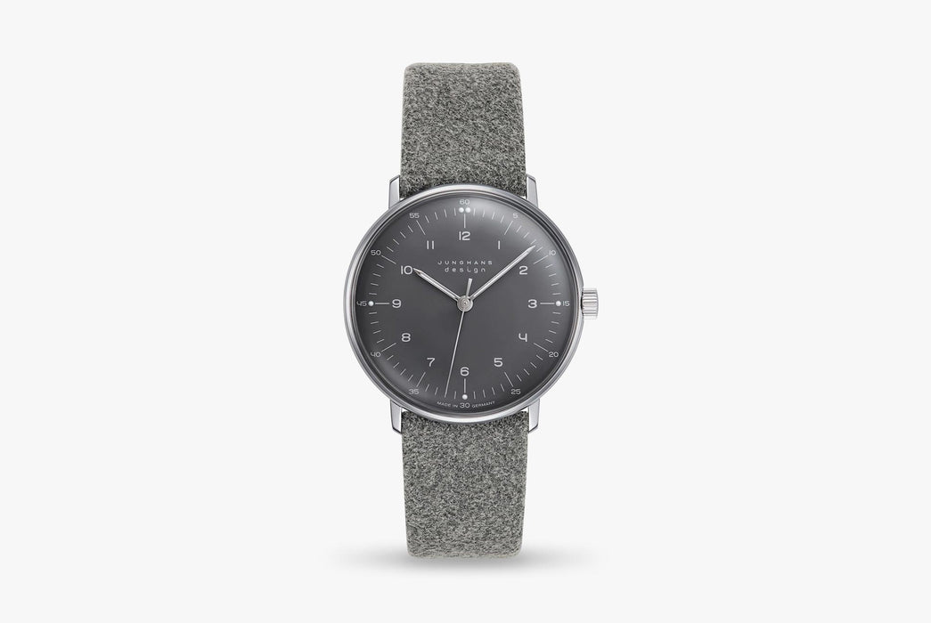 Junghans Max Bill Handwound Watch - watch standing up, showing version with black dial and gray strap