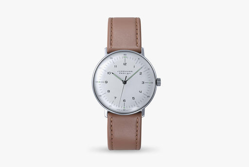 Junghans Max Bill Handwound Watch - watch standing up, showing version with white dial, black numbers, and brown leather strap