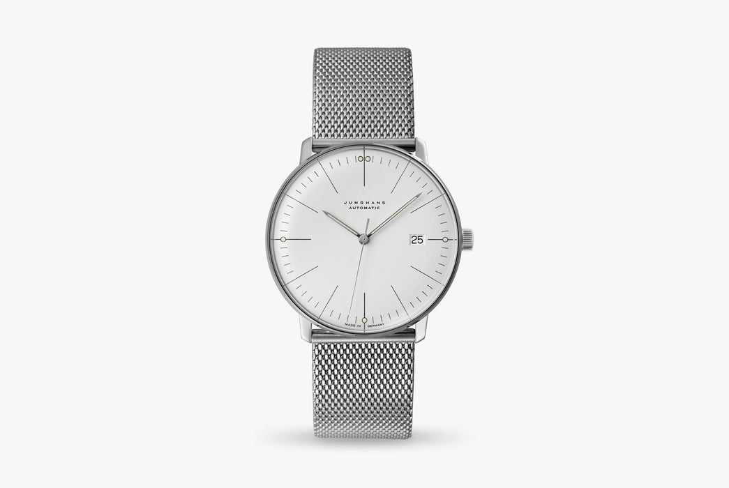 Junghans Max Bill Automatic Date Watch - watch standing up, showing version with white dial and a silver mesh strap