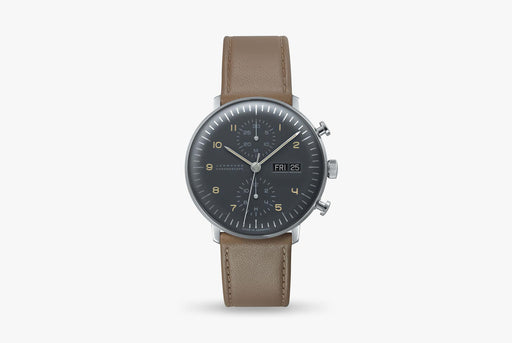 Junghans Max Bill Chronoscope Watch - watch standing up, showing version of gray dial and brown leather strap