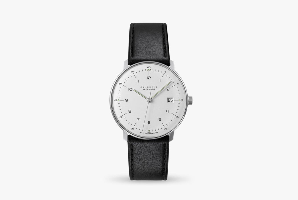 Junghans Max Bill Automatic Date Watch - watch standing up, showing version with a white dial and black leather strap