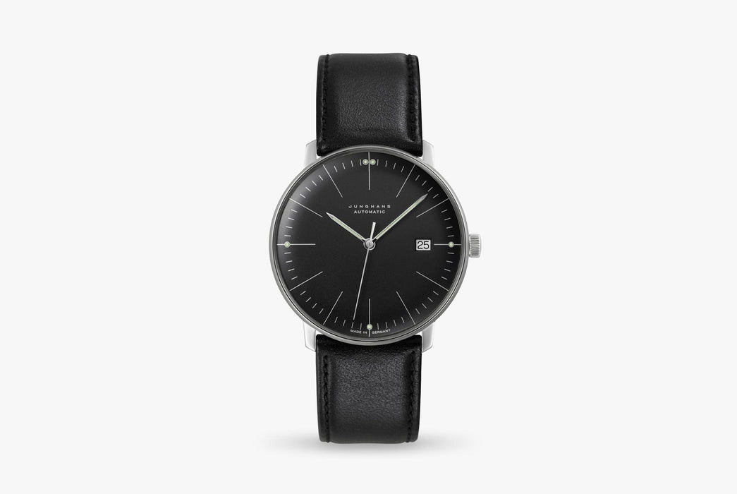 Junghans Max Bill Automatic Date Watch - watch standing up, showing version with a black dial and black leather strap