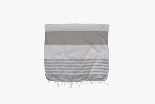 Long Wharf Supply Co. Chatham Travel Towel - Grey - image of towel folded horizontally, showing gray and white stripes and fringe detailing at bottom