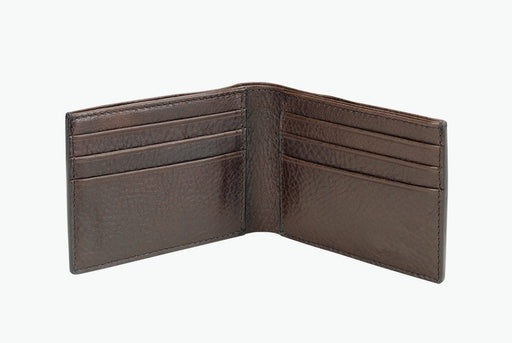 Lotuff Leather Bifold Wallet - Chocolate - wallet standing upright, open, showing six card slots