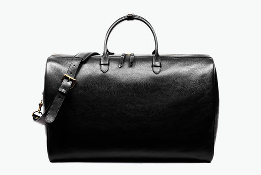 Lotuff No. 12 Weekender Bag - Black - Front view of bag showing top handles and a shoulder strap