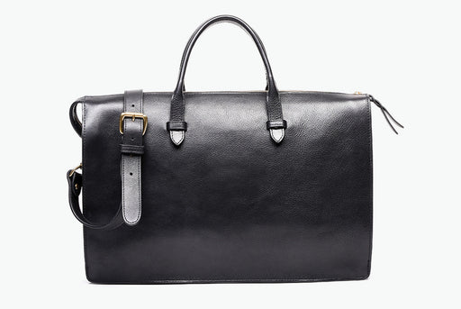 Lotuff Triumph Briefcase Bag - Black - Front view of bag standing upright showing top handles and shoulder strap