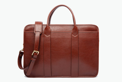 Lotuff Leather Zip-Top Briefcase - Chestnut - Front view of bag standing upright