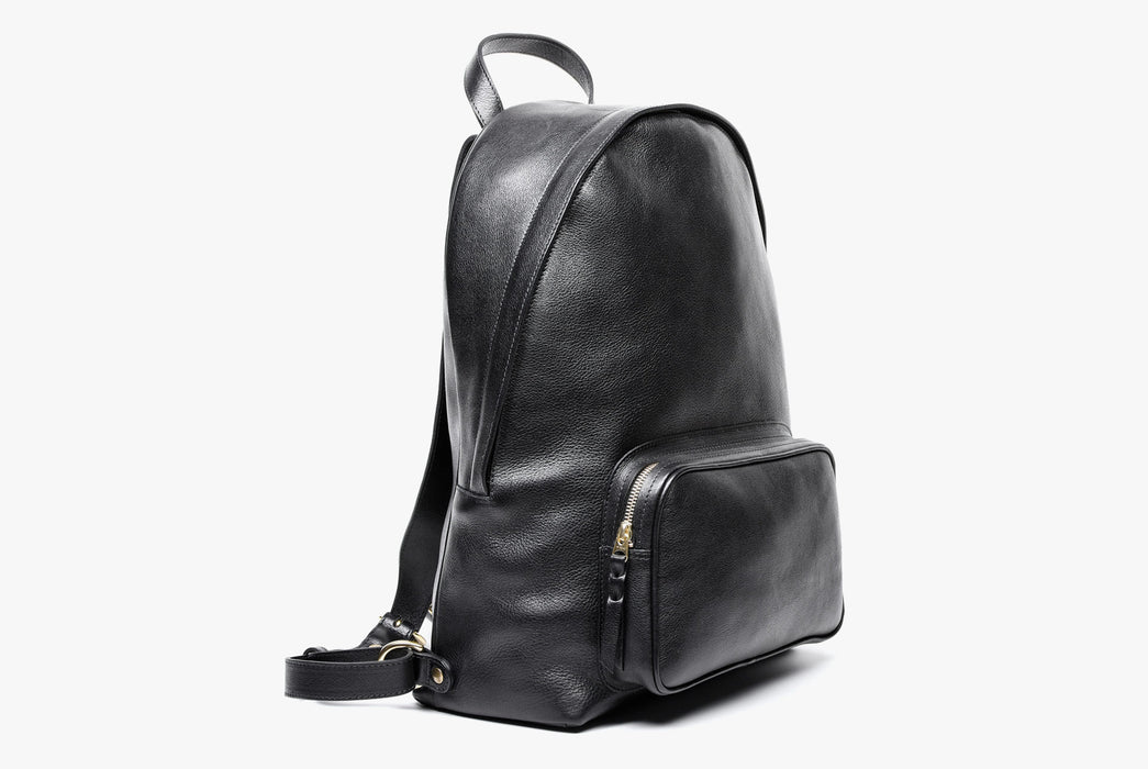 Lotuff Zipper Backpack - Black - side view of bag standing upright