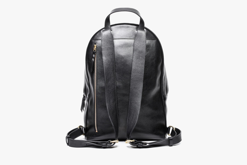 Lotuff Zipper Backpack - Black - back view of bag and shoulder straps