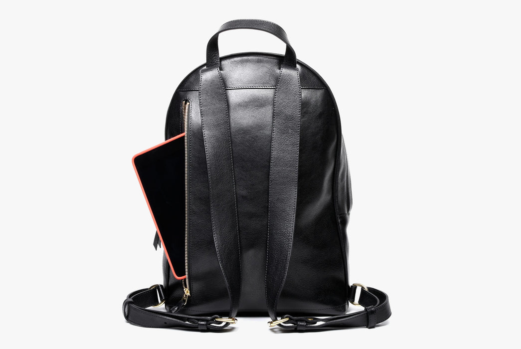 Lotuff Zipper Backpack - Black - back view of bag and shoulder straps with an iPad peeking out of the back zipper pocket