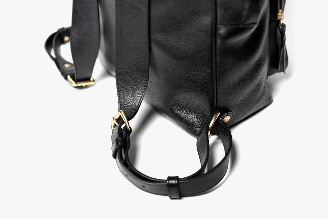 Lotuff Zipper Backpack - Black - close-up of gold metal hardware on straps