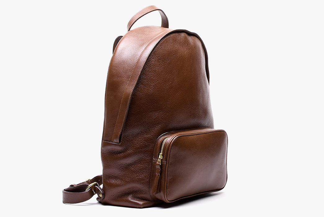 Lotuff Zipper Backpack - Chestnut - side view of bag standing upright
