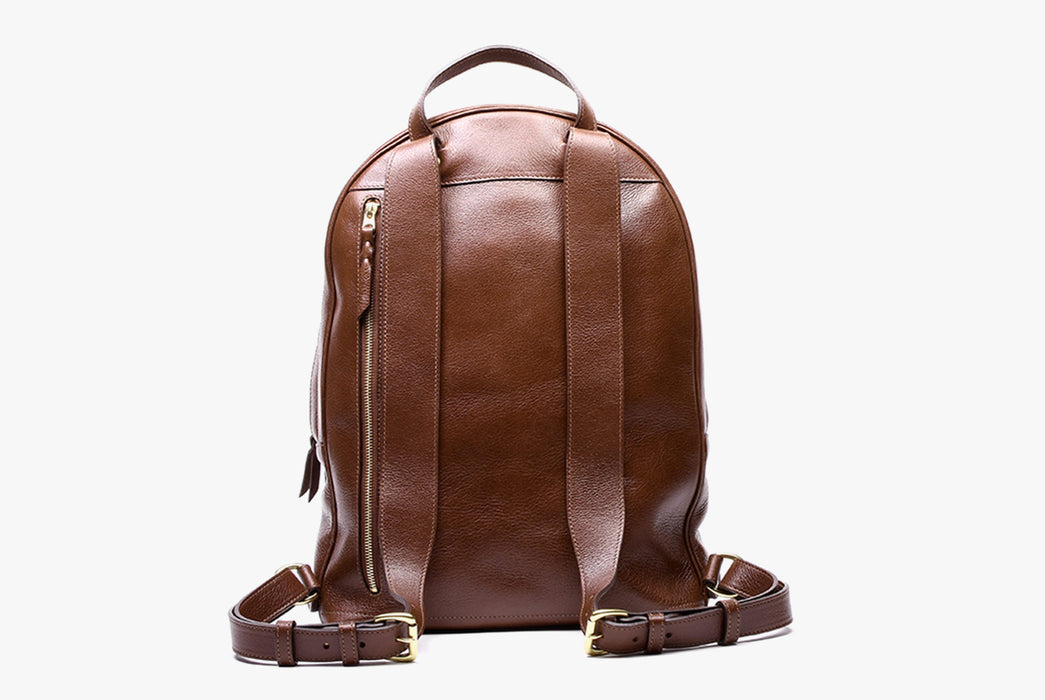 Lotuff Zipper Backpack - Chestnut - back view of bag and straps