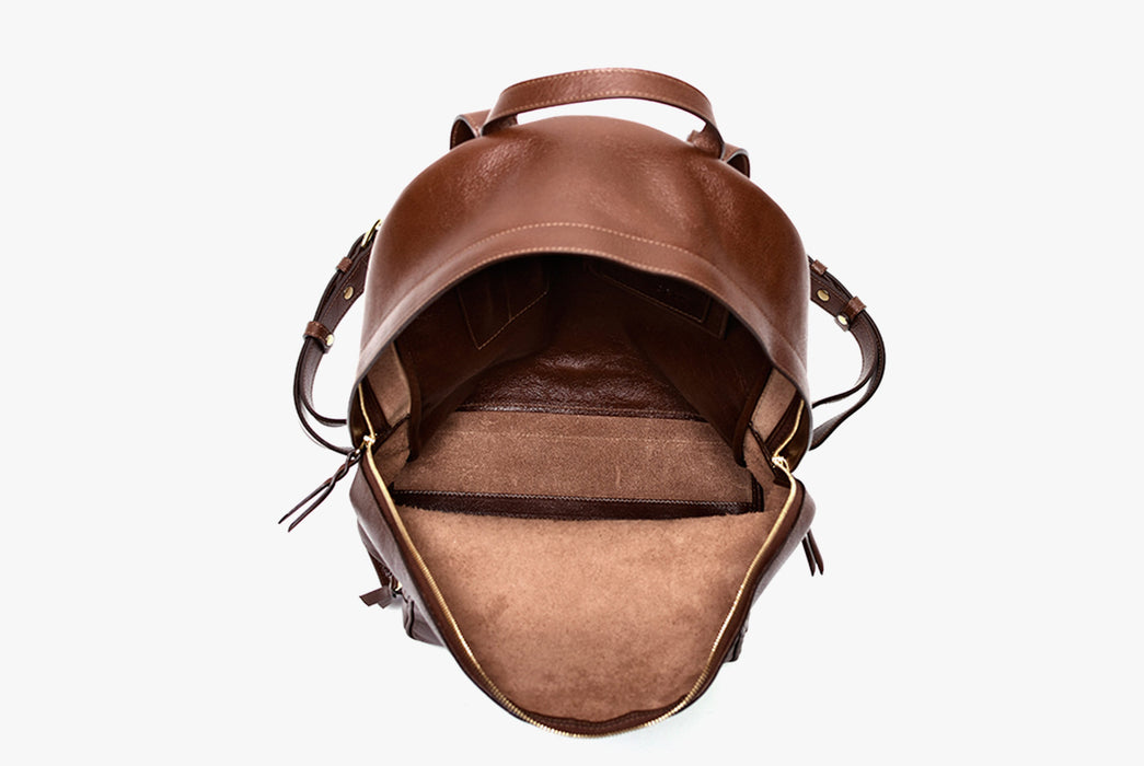 Lotuff Zipper Backpack - Chestnut - top-down view of bag, zipped open