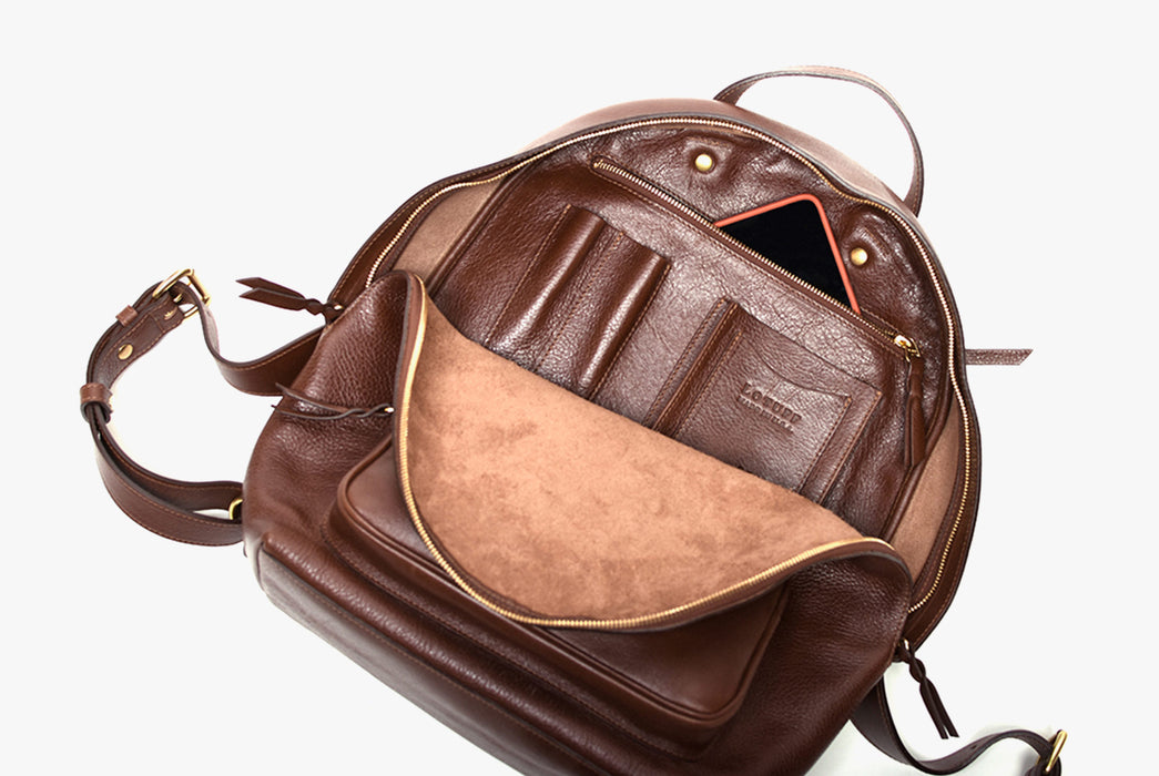 Lotuff Zipper Backpack - Chestnut - view of bag interior showing internal pockets