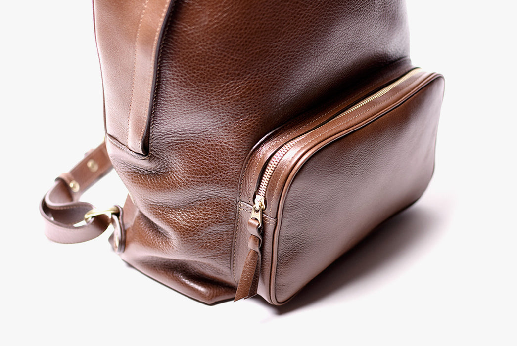 Lotuff Zipper Backpack - Chestnut - close-up of front zipper pocket