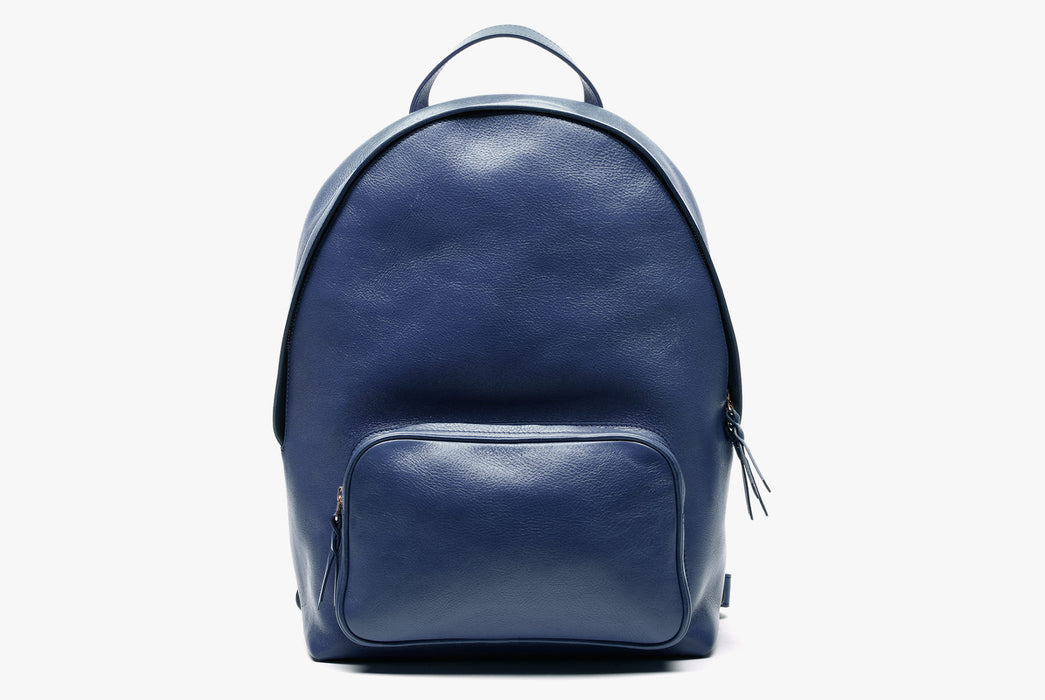 Lotuff Zipper Backpack - Blue - front view of bag standing upright