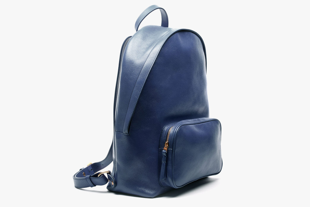 Lotuff Zipper Backpack - Blue - side view of bag standing upright