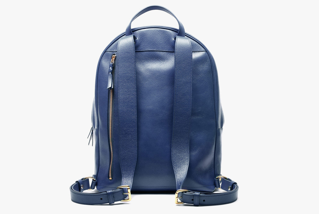 Lotuff Zipper Backpack - Blue - back view of bag standing upright showing shoulder straps