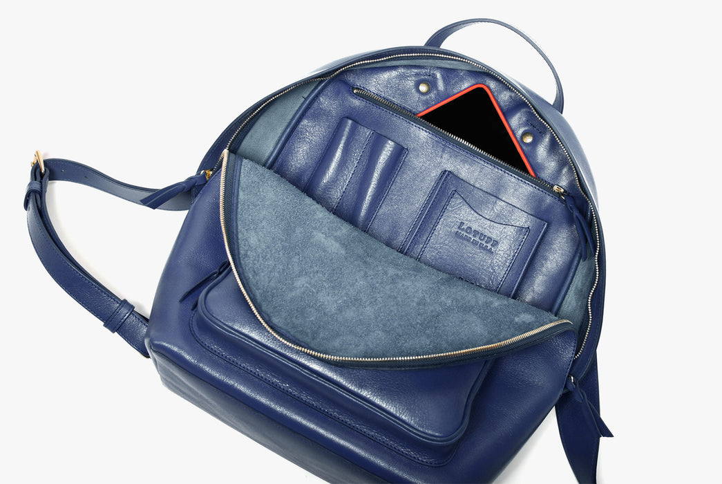 Lotuff Zipper Backpack - Blue - view of interior pockets