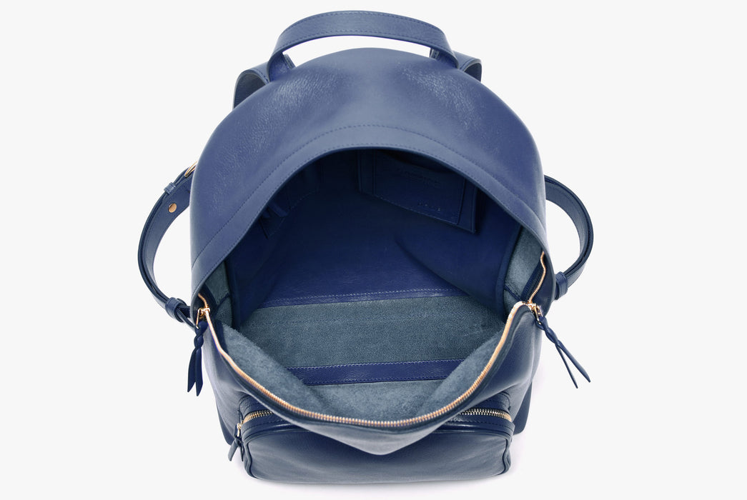 Lotuff Zipper Backpack - Blue - top-down view of unzipped backpack