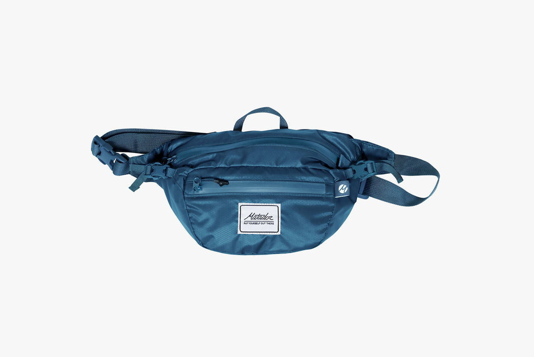 Matador Packable Hip Bag - Blue - Front view of pack