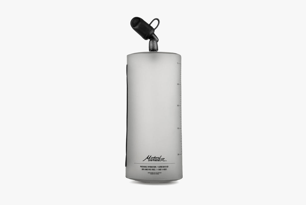 Matador Packable Water Bottle - Front view of water bottle standing upright