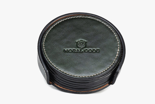 Moral Code Coasters - Green - stack of leather coasters in holder