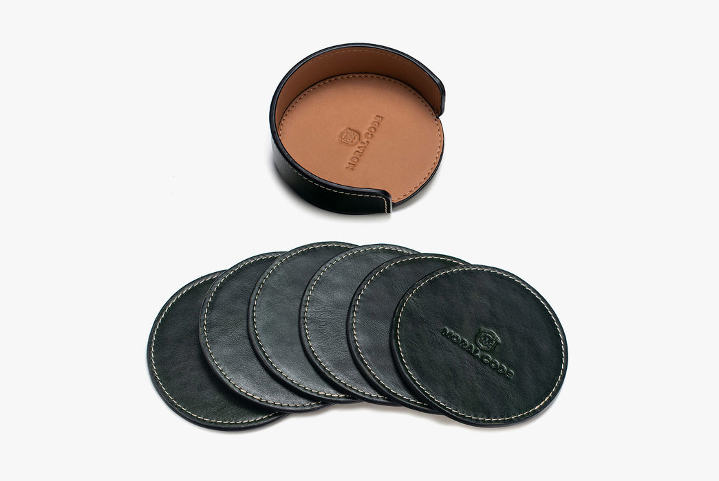 Moral Code Coasters - Green - leather coasters stacked side by side below leather holder