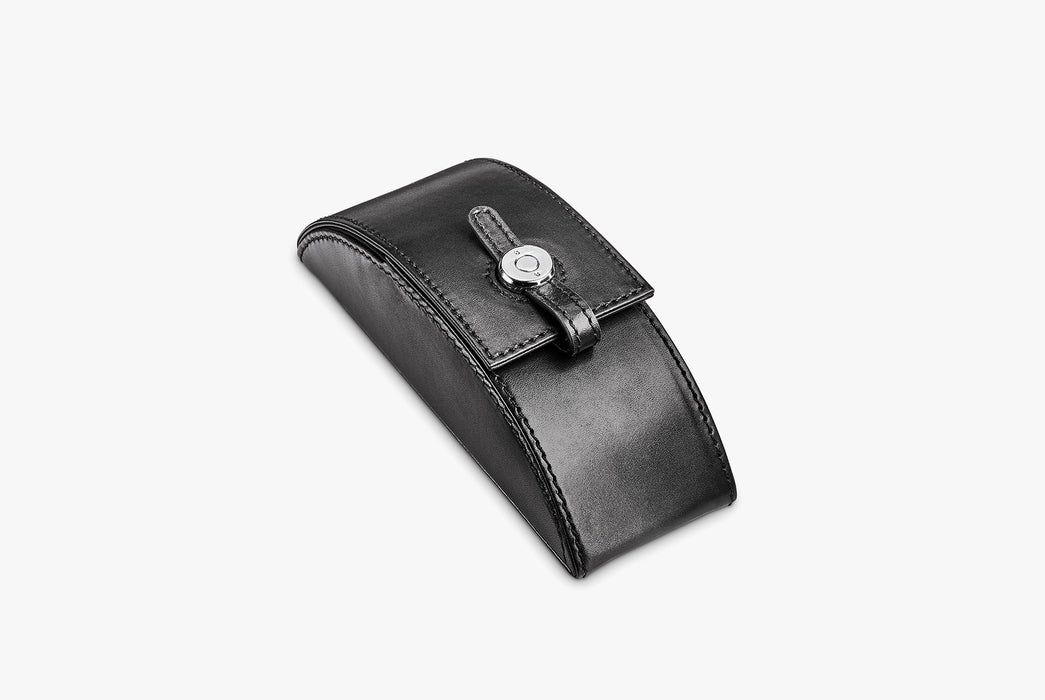 Moral Code Preston Eyeglass Case - Black - leather eyeglass case standing upright, closed
