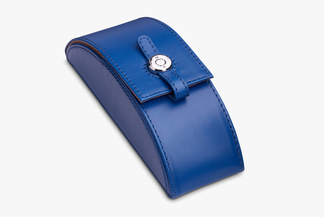 Moral Code Preston Eyeglass Case - Blue - leather eyeglass case standing upright, closed