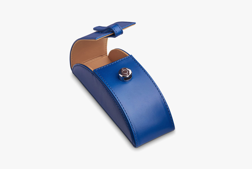 Moral Code Preston Eyeglass Case - Blue - leather eyeglass case standing upright, partially open